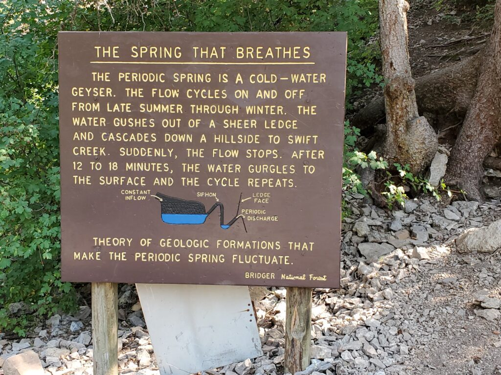 sign at intermittent spring, afton, wy